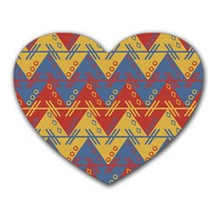 Aztec traditional ethnic pattern Heart Mousepads
