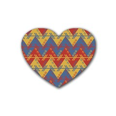 Aztec traditional ethnic pattern Heart Coaster (4 pack)