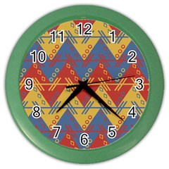 Aztec Traditional Ethnic Pattern Color Wall Clocks