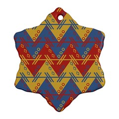 Aztec traditional ethnic pattern Snowflake Ornament (Two Sides)