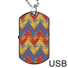 Aztec Traditional Ethnic Pattern Dog Tag Usb Flash (two Sides)