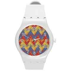 Aztec traditional ethnic pattern Round Plastic Sport Watch (M)