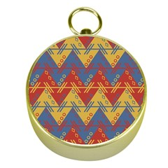 Aztec Traditional Ethnic Pattern Gold Compasses