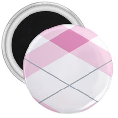 Tablecloth Stripes Diamonds Pink 3  Magnets