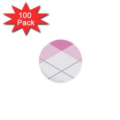 Tablecloth Stripes Diamonds Pink 1  Mini Buttons (100 pack)