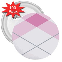 Tablecloth Stripes Diamonds Pink 3  Buttons (100 pack)