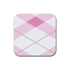 Tablecloth Stripes Diamonds Pink Rubber Coaster (square)