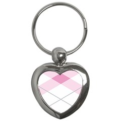 Tablecloth Stripes Diamonds Pink Key Chains (Heart)