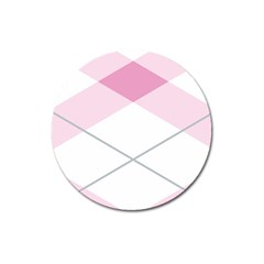Tablecloth Stripes Diamonds Pink Magnet 3  (Round)