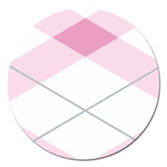 Tablecloth Stripes Diamonds Pink Magnet 5  (Round)