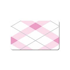 Tablecloth Stripes Diamonds Pink Magnet (Name Card)