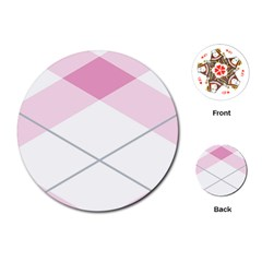 Tablecloth Stripes Diamonds Pink Playing Cards (round)