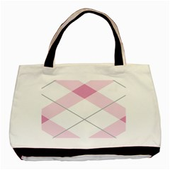 Tablecloth Stripes Diamonds Pink Basic Tote Bag