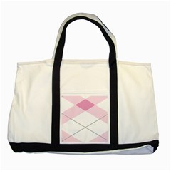 Tablecloth Stripes Diamonds Pink Two Tone Tote Bag