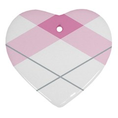Tablecloth Stripes Diamonds Pink Heart Ornament (two Sides)