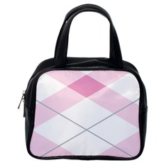 Tablecloth Stripes Diamonds Pink Classic Handbags (one Side)