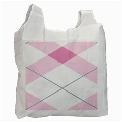 Tablecloth Stripes Diamonds Pink Recycle Bag (Two Side)