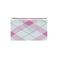 Tablecloth Stripes Diamonds Pink Cosmetic Bag (Small)
