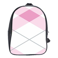 Tablecloth Stripes Diamonds Pink School Bags(Large)