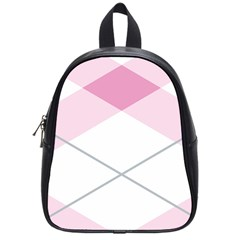 Tablecloth Stripes Diamonds Pink School Bags (Small)