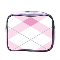 Tablecloth Stripes Diamonds Pink Mini Toiletries Bags