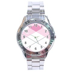 Tablecloth Stripes Diamonds Pink Stainless Steel Analogue Watch