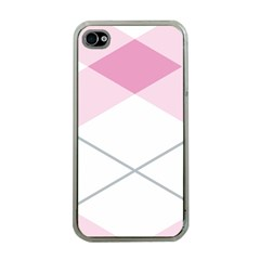 Tablecloth Stripes Diamonds Pink Apple Iphone 4 Case (clear)