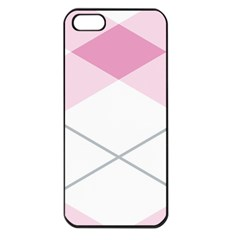 Tablecloth Stripes Diamonds Pink Apple iPhone 5 Seamless Case (Black)