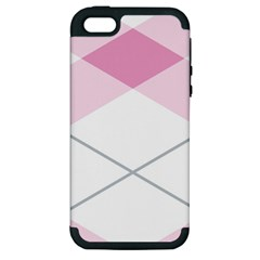 Tablecloth Stripes Diamonds Pink Apple Iphone 5 Hardshell Case (pc+silicone)