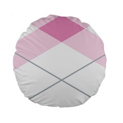 Tablecloth Stripes Diamonds Pink Standard 15  Premium Round Cushions