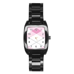 Tablecloth Stripes Diamonds Pink Stainless Steel Barrel Watch