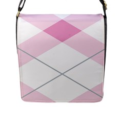 Tablecloth Stripes Diamonds Pink Flap Messenger Bag (L)
