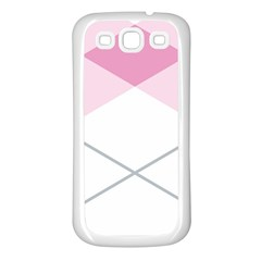 Tablecloth Stripes Diamonds Pink Samsung Galaxy S3 Back Case (White)
