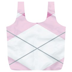 Tablecloth Stripes Diamonds Pink Full Print Recycle Bags (L)