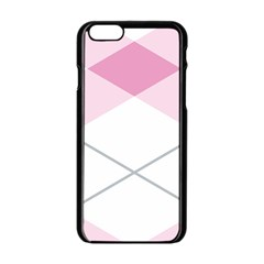 Tablecloth Stripes Diamonds Pink Apple Iphone 6/6s Black Enamel Case