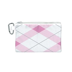 Tablecloth Stripes Diamonds Pink Canvas Cosmetic Bag (S)