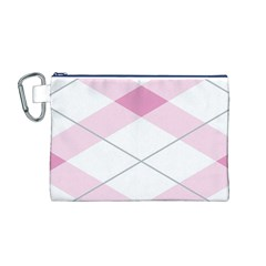Tablecloth Stripes Diamonds Pink Canvas Cosmetic Bag (m)