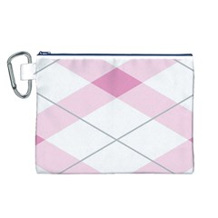 Tablecloth Stripes Diamonds Pink Canvas Cosmetic Bag (L)
