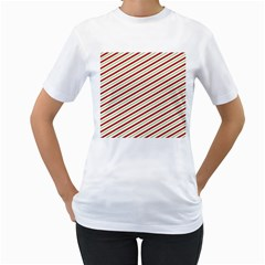 Stripes Striped Design Pattern Women s T-Shirt (White) (Two Sided)
