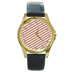 Stripes Striped Design Pattern Round Gold Metal Watch
