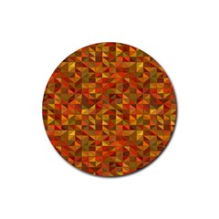 Gold Mosaic Background Pattern Rubber Round Coaster (4 pack)