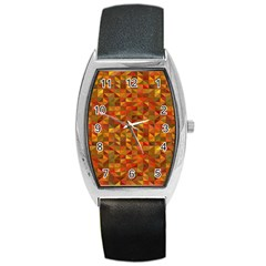 Gold Mosaic Background Pattern Barrel Style Metal Watch