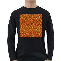 Gold Mosaic Background Pattern Long Sleeve Dark T-Shirts