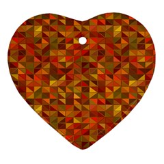 Gold Mosaic Background Pattern Heart Ornament (Two Sides)