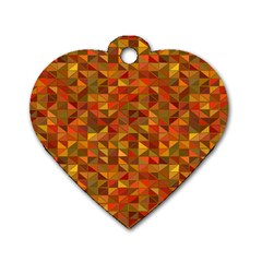 Gold Mosaic Background Pattern Dog Tag Heart (One Side)