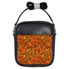 Gold Mosaic Background Pattern Girls Sling Bags