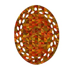 Gold Mosaic Background Pattern Oval Filigree Ornament (Two Sides)