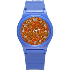 Gold Mosaic Background Pattern Round Plastic Sport Watch (S)