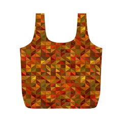 Gold Mosaic Background Pattern Full Print Recycle Bags (M)