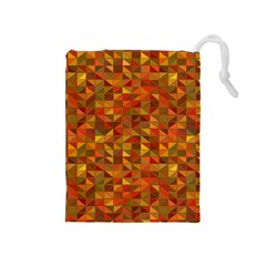 Gold Mosaic Background Pattern Drawstring Pouches (Medium)